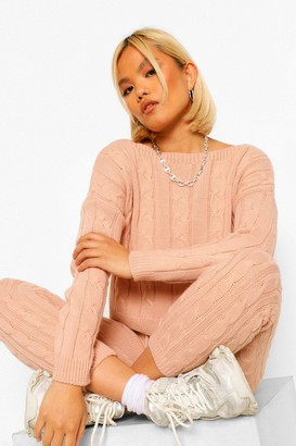 boohoo Petite Cable Knit Cropped Jumper