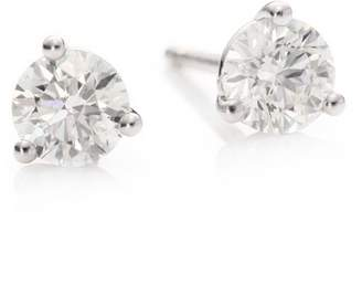 Hearts On Fire Diamond & 18K White Gold Three-Prong Stud Earrings