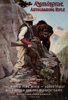 Remington Poster Revolution Autoloading Rifle Right of Way Bear Hunting Retro Vintage Tin Sign - 13x16