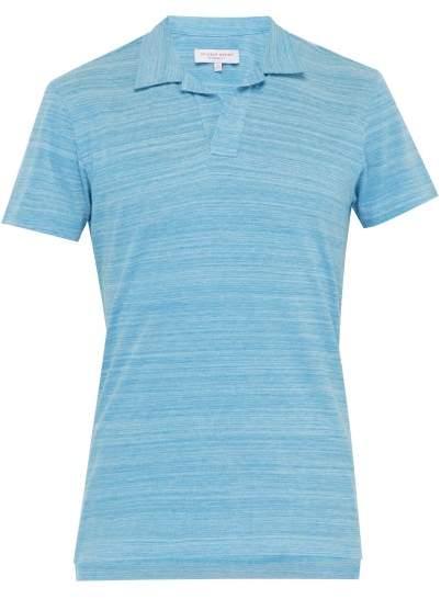 Orlebar Brown Felix Open Neck Cotton Polo Shirt - Mens - Blue