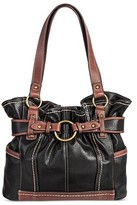 Bolo Women's Faux Leather Tote Handbag with Back/Interior Compartments with Top Zipper Snap Closure - Black/Walnut