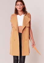 Missy Empire Yolanda Tan Sleeveless Trench Coat