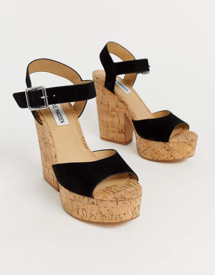 0b95050e080 Jess black suede cork platform heeled sandals