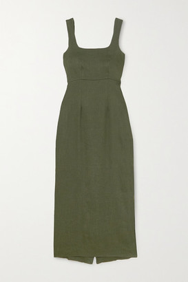 BONDI BORN Linen-blend Maxi Dress - Army green