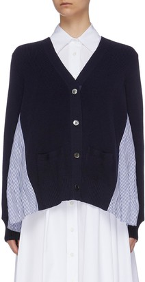 Sacai Pleated stripe shirt back wool cardigan
