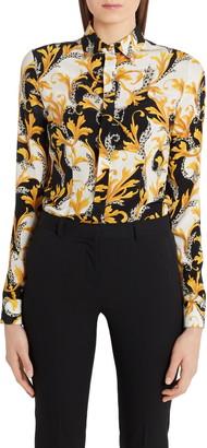 Versace Barocco Acanthus Print Silk Shirt