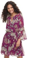 Speechless Juniors' Floral Bell Sleeve Fit & Flare Dress