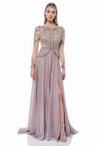 Terani Couture Sleeves Sequined Dress with Slit 1611M0764B