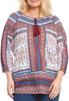 Allison Daley Plus Tassel Tie-Neck 3/4 Sleeve Paisley Border Print Top