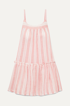 Lemlem Net Sustain Doro Ruffled Striped Cotton-blend Gauze Mini Dress - Blush