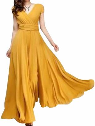 AAP Women Casual Maxi Dress Ladies Short Sleeve V-Neck High Waist Boho Long Dress Cocktail Evening Party Gown Swing Dress M Yellow