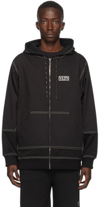 Valentino Black VLTN Panel Zip-Up Hoodie