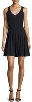 Milly Textured Tech-Fabric Dress, Black
