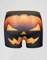 Asos Halloween Trunks With Pumpkin Print In Microfibre