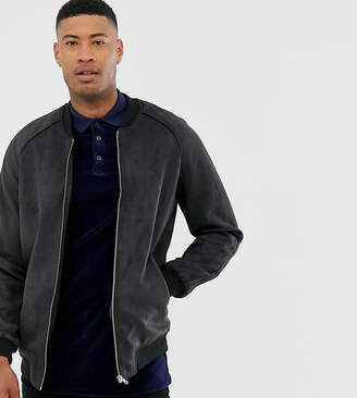 Asos DESIGN Tall faux suede bomber jacket in black