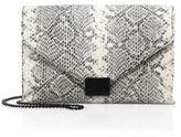 Loeffler Randall Snakeskin-Embossed Leather Envelope Lock Clutch