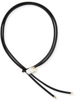 Mizuki Leather Bolo Necklace with Baroque Pearl Slider, Black