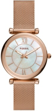 Fossil Women's Carlie Rose Gold-Tone Stainless Steel Mesh Bracelet Watch 35mm
