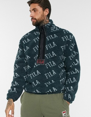 Fila all-over print Jeremiah logo fleece in blue