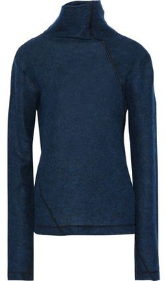 Helmut Lang Leather-trimmed Brushed Wool-blend Turtleneck Sweater