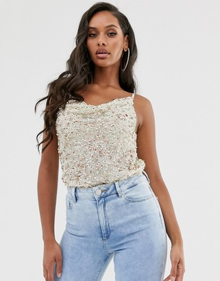 ASOS DESIGN embellished sequin cami top with cowl neck