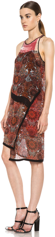 Helmut Lang Printed Layer Dress in Red Multi