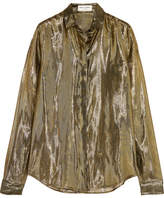 Saint Laurent Metallic Silk-blend Lamé Shirt - Gold