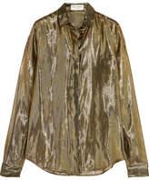 Saint Laurent Metallic Silk-blend Lamé Shirt