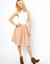 ASOS Midi Skirt in Cutwork with Ribbon Trim