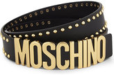 Moschino Logo stud leather belt