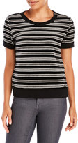 Pam & Gela Short Sleeve Striped Velour Sweatshirt