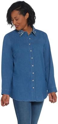 Quacker Factory Button Front Denim Tunic with Rhinestone Collar