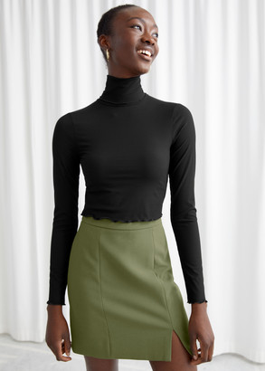 And other stories Fitted Lettuce Edge Turtleneck Top