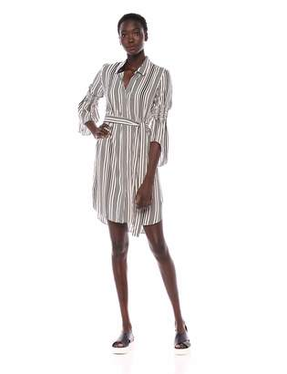 Halston Women's Long Sleeve Button Down Shirtdress with Smocking