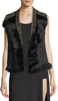 Haute Hippie Mansion Shearling Vest with Fur Collar