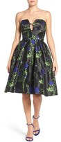Mac Duggal Women's Strapless Rose Print Dress