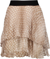 Enza Costa Tiered printed chiffon mini skirt