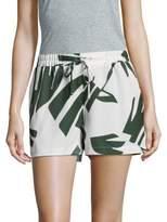 Saks Fifth Avenue Palm Print Overlay Shorts