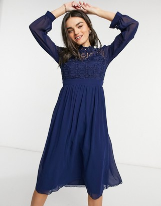 Little Mistress high neck pleated midi dress in navy