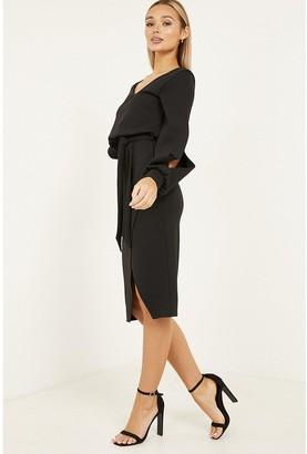 Quiz Scuba Crepe Split Sleeve Wrap Dress - Black