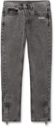 Off-White Slim-Fit Logo-Print Stonewashed Denim Jeans