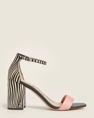 Sam Edelman Pink & Black Daniella Ankle Strap Leather Sandals