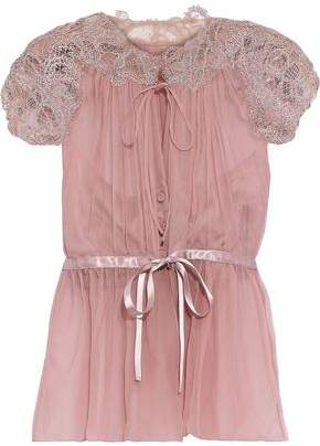 Alberta Ferretti Lace-paneled Gathered Silk-chiffon Blouse