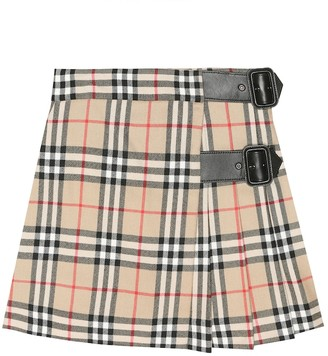 BURBERRY KIDS Vintage Check wool skirt