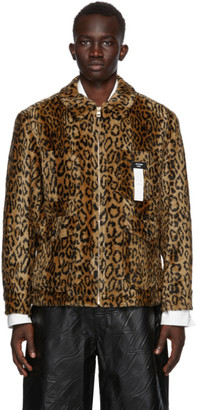 we11done Tan and Black Faux-Fur Leopard Zip-Up Jacket