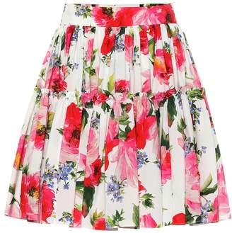 Dolce & Gabbana Floral-printed cotton miniskirt