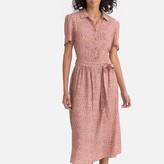 La Redoute Collections Floral Print Tie-Waist Shirt Dress