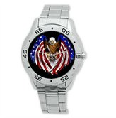 Eagle Fashion Design American Bald Flag Stainless Steel Men's Watch