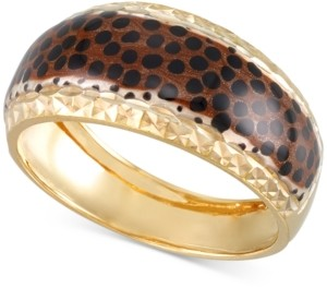 Macy's Leopard Print Statement Ring in 18k Gold-Plated Sterling Silver