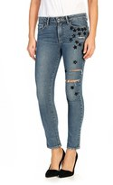 Paige Sequin Star Patch High Rise Straight Leg Jeans (Jupiter Embellished)